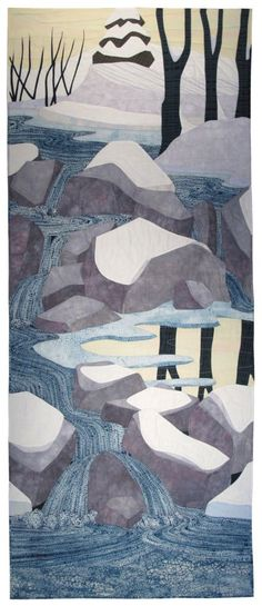 "Silent Snow, The Creek Is Singing, 78 x 32"", by Carol Anne Grotrian 