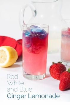 Red White and Blue Ginger Lemonade. A beautiful refreshing and tasty lemonade for your Fourth of July celebration. Healthy Smoothies, Healthy Drinks, Smoothie Recipes, Drink Recipes, Cocktail Recipes, Healthy Food, Summertime Drinks, Summer Drinks, Summer Bbq