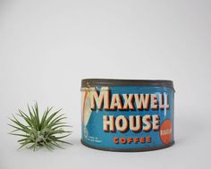 Vintage Maxwell House Coffee Tin - One Pound Vintage Advertising Tin - Blue Collectible Storage Tin by Suite22 on Etsy