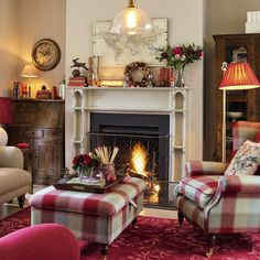 Autumn Cosiness With Cranberry Cottage is part of Cottage Living Room Laura Ashley - Learn everything you need to know about our cranberry cottage collection Living Room Red, Cottage Living Rooms, Cottage Interiors, Home And Living, Woodland Living Room, Country Cottage Living Room, Living Area, Red Cottage, Cottage Homes