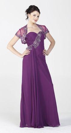 Embellished Top Chiffon Long Eggplant Formal Dress With Bolero Jacket $387.99