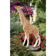 Gerard the Giraffe Sculpture by Design Toscano. $98.95. Great for home or garden gallery. Hand painted. Cast in quality designer resin. Design Toscano exclusive. At a full yard tall, our statuesque garden giraffe cranes his slender neck to grab a leaf from your favorite tree! Replete with lifelike detail from gentle eyes to pert ears, our realistically hand-painted, quality designer resin work of decorative art transports garden guests to an instant safari. Our elegan...