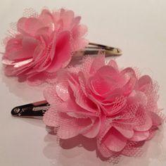 Light Pink Pom Pom Flower Mesh Satin Tulle Hair Snap Clip. on Etsy, $6.00
