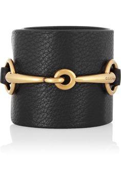 Gucci|Gold-tone and textured-leather horsebit cuff|NET-A-PORTER.COM