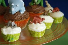 Get plastic dinos from gumball machines for the tops of cupcakes
