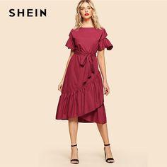 49d8f395a4c Burgundy Elegant Overlap Ruffle Hem Flounce Sleeve Round Neck Knot Front  Belted Dress Summer Women Weekend Casual Dresses