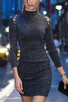 ddc42f8ac095 Black Ribbed High Neck Lurex Yarn Long Sleeve Bodycon Mini Dress -  Choies.com
