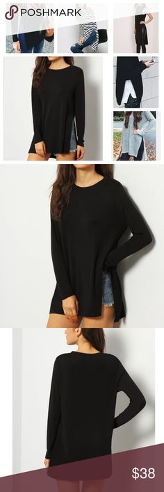 NWT Solid Black Split Tunic Top Having the perfect essentials in your wardrobe is a no brainer and that's exactly what this top is! The Split hem detail adds a little bit of style to this must have Tunic!                                   Black Split Side Casual Tunic Clothing Length(cm) : S:75cm, M:76cm, L:77cm Sleeve Length(cm) :S:57.5cm, M:58.5cm, L:59.5cm Bust(cm) :S:100cm, M:104cm, L:108cm Color : Black Sleeve Length : Long Sleeve MMC Tops