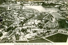 Following up on our earlier post from Lebreton Flats, here is a Bird's Eye view of Hull taken from the air over the Ottawa River, in what must be around 1920.  In the foreground center is a hydro station that is still there but not used anymore (bottom centre, just below the first smokestack). To the right is a demolition zone, and then what is now the Quebec Hydro station (far right). Ottawa Valley, Ottawa River, Birds Eye View, Le Moulin, Photo Archive, Quebec, Ancestry, City Photo, Centre