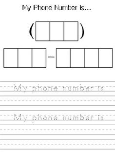Address and phone number numbers preschool, learning numbers, preschool cla Numbers Preschool, Learning Numbers, Kindergarten Readiness, Kindergarten Classroom, Teaching Kids, Kids Learning, Phone Quotes, Number Worksheets, Budget Template