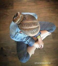 New Braids Bun Gymnastics Ideas Goddess Hairstyles, Braided Hairstyles Updo, Down Hairstyles, Updo Hairstyle, Wedding Hairstyles, Braids For Kids, Girls Braids, Everyday Hairstyles, Hairstyles For School