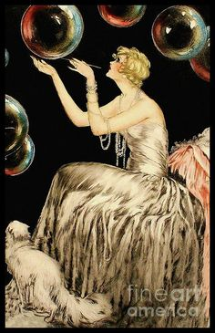 An enchanting Whimsical French Art Deco era Fashion illustration of a woman playing with huge bubbles as her cat looks on attentively. Created during the early turn of the Century France. Vintage art professionally restored to its original beauty. Arte Art Deco, Art Deco Era, Art Deco Artists, Art Deco Illustration, Korean Illustration, People Illustration, Character Illustration, Art Vintage, Retro Art