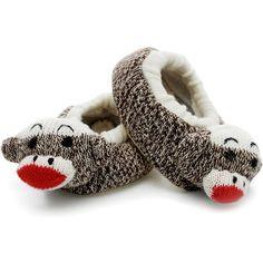 Sock Monkey Slippers Kidlantis ❤ liked on Polyvore