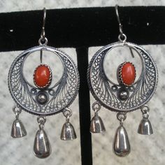 Coral and Silver  Filigree Earrings from Egypt by audreyf on Etsy, $118.00