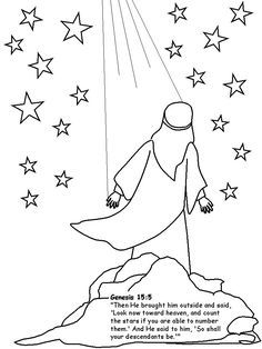 Abraham coloring pages.  We colored Abraham and glued him to black paper, then decorated the sky with star stickers.