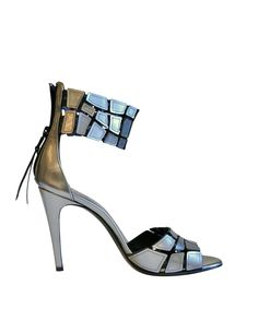 Premiata Silver leather sandal | Lindelepalais.com 14129 Spring/Summer 2013 sandal in silver leather with ankle band. Closes on the back with zip. Composition: 100 % leather       $ 935.00 Duties, Taxes and shipping included