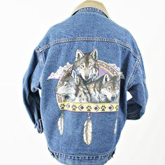 vintage 80s southwestern NATIVE AMERICAN tribal WOLVES denim jacket size L by PasseNouveauVintage, $75.00