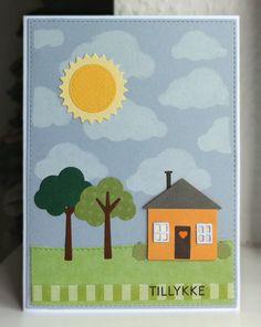 Card house tree trees sky sun MFT Home sweet home Die-namics, MFT Clourd cover up Die-namics used as stencil #mftstamps Happy Birthday - JKE