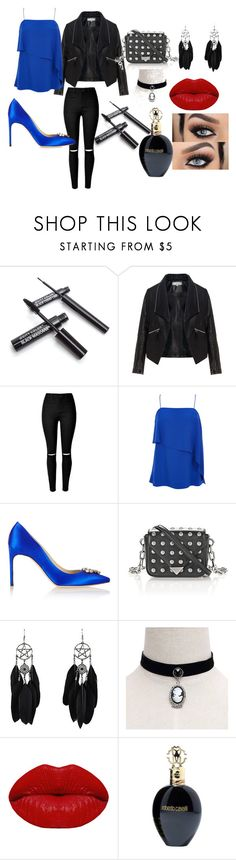 PARTY Time by kaveridevkate on Polyvore featuring TIBI, Zizzi, Brian Atwood, Alexander Wang, Winky Lux and Roberto Cavalli Heading for a party? Well then you need to be the Life of the Party. Get a layered Drape Cami in royal blue colour, skinny jeans with slashed knees and royal blue pumps. Don't forget your Jacket. It gives a Gangster look. Nothing, I repeat Nothing works as well as a choker paired with feathered earrings.  Red lipstick is a must. Eyeliner and Mascara is BAE. Get a Eau de…