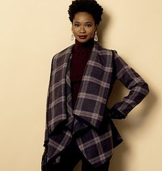 There are so many ways you can style this jacket or coat sewing pattern from Butterick. The draped blanket collar is easy to sew and wear. B6255, Misses' Coat