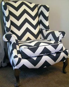 Grey and White Chevron Stripe Wingback Chair by ShopSpacePlace, $875.00