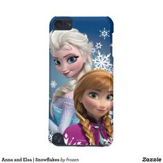 Anna and Elsa | Snowflakes iPod Touch (5th Generation) Case. Beautiful Disney Frozen items to personalize for yourself or as a gift to a friend. #disney #Frozen #birthday #gifts #personalize #shopping