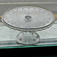 EAPG Antique Cake Stand Pedestal FLATTENED DIAMOND AND SUNBURST 1870u0027s Excellent & RARE Antique EAPG Bryce Glass Daisy Button Cake Plate Stand | eBay ...