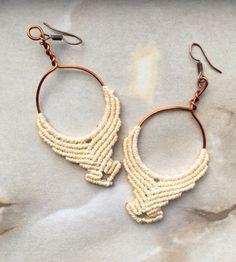 Handmade Hoop Boho Earrings, Bride Earrings, Wedding Earrings, Gypsy, Tribal, Hippie, Beach Earrings, Gift, Macrame Earrings, Big Earrings http://etsy.me/2odeKxK  #boho #bride #copper #handmade #macrame #festival #hippie #hoop #tribal #wedding  #jewelry #earrings #gift