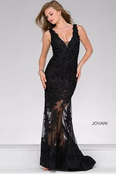 Classy black long sleeveless partly sheer dress features lace appliques, a plunging V sheer neckline and an open back with a hidden zipper.