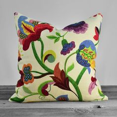 Vibrant Floral Linen Pillow with Blue Red Yellow Orange Lime Apple Green on Cream - 20x20