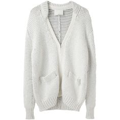 3.1 Phillip Lim Double Collar V-Neck Cardigan ($288) ❤ liked on Polyvore featuring tops, cardigans, sweaters, outerwear, jackets, ivory top, long sleeve cardigan, ivory cardigan, long sleeve v neck cardigan and v-neck tops