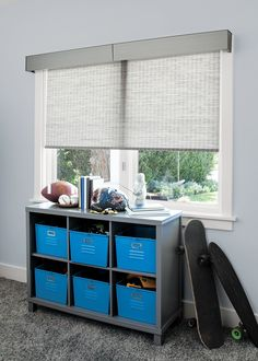 Our Solar Shades reduce heat and glare in sun-soaked homes and prevent furniture damage due to UV rays. Available in a range of stylish looks - including our exclusive designer collection from Scott Living Custom Valances, Home, Bedroom Inspirations, Solar Shades, Bold Bedroom, Cordless Shade, Boys Bedrooms, Bay Window Treatments, Awesome Bedrooms