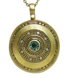 """""""Circle"""" pendant by Alex Sepkus, 18KY, .35 ct Green Tourmaline, .04 ctw Diamonds (F-G/VVS) $3,450.00  (Price does not include a chain)."""