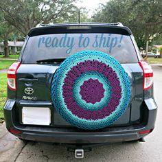 Purple U0026 Aquas   Crocheted Spare Tire Cover {Perfect For RV, Honda CRV,  Jeep, Toyota Rav4}
