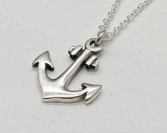 Anchor Necklace in Sterling Silver by MichelePosterJewelry on Etsy, $25.50