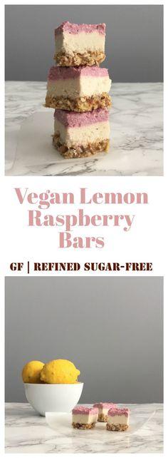 Light and delicious Vegan Lemon Raspberry Bars! Gluten-free and refined sugar-free.
