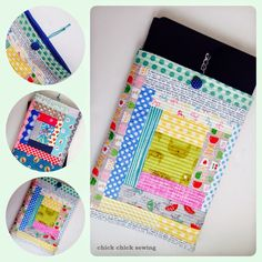 chick chick sewing: Quilt-as-you-go New Laptop Sleeve (Cat or Giraffe?) ♪手作りノートパソコンカバー(猫とキリン)♪
