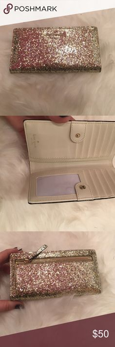 Kate spade wallet GORGEOUS GOLD AND SILVER GLITTER! Sure to sparkle!!! Brand new , never used kate spade Bags Wallets