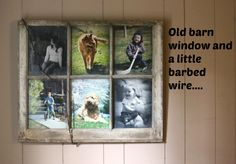Barn window and barbed wire and 8x10 pictures