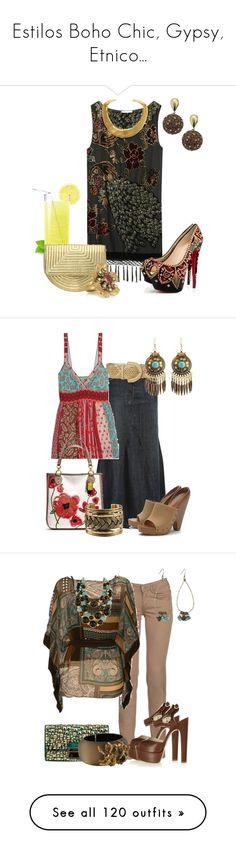 """""""Estilos Boho Chic, Gypsy, Etnico..."""" by outfits-de-moda2 ❤ liked on Polyvore featuring Kite and Butterfly, Christian Louboutin, Nine West, Bijoux Heart, Kenneth Jay Lane, Tabeez, Topshop, Johnny Was, Intermix and Coach"""