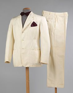 Suit, 1935-40, Goodall Worsted Company. Brooklyn Museum Costume Collection at The Metropolitan Museum of Art. In 1908, Goodall Worsted Co., of Sanford, Maine, purchased the patent for a tropical weight mohair-cotton blend fabric developed by William S. Nutter. Goodall called the fabric Palm Beach cloth. The Palm Beach suit became a summer classic, washable and comfortable to wear, the legendary suit became the staple of the well-dressed man's summer wardrobe.