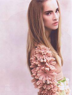 KIm West pale pink latex Petal Leotard in Notion Magazine..