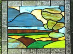 Stained Glass Window Panel Green Blue Landscape Handmade by FleetingStillness on Etsy https://www.etsy.com/listing/120172377/stained-glass-window-panel-green-blue