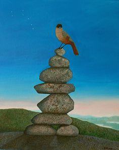 """""""Seita"""". Akryyli pellavakankaalle, 73 x 60 cm, 2018.    Tämä maalaus on inspiroitunut Lapin mytologiasta. Seidat,esimerkiksi kiviröykkiöt tuntureiden huipuilla tai muuten epätavalliset kalliomuodostelmat olivat pyhiä paikkoja saamelaisten muinaisuskossa. Maalasin myös kuukkelin istuskelemaan kiville, sillä saamelaiset pitivät tätä.kaunista lintua onnen- ja sielunlintunaan. // Acrylics on a linen canvas, 73 x 60 cm, 2018.  This one is inspired by the nature mythology of Lapland."""
