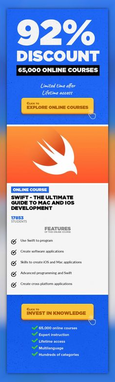 "Swift - The Ultimate Guide To Mac and iOS Development Mobile Apps, Development  Learn how to use Swift, a language that is created by the world's largest company ""Apple"". Learn about the fundamentals that make the amazing iOS and Mac applications we use on a daily basis. A step by step process is used to show everything from setting up to all the crucial Swift and software development features...."