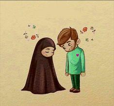 Love Cartoon Couple, Cute Couple Comics, Cute Couple Art, Couple Pics, Couple Quotes, Couple Goals, Cute Muslim Couples, Cute Anime Couples, Islam Marriage