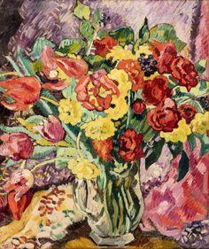 *Louis VALTAT (Dieppe 1869 - Paris 1952) Bouquet de tulipes et renoncules Huile sur toile d'origine 56 x 46 cm Signé en bas à gauche L. Valtat Porte au dos une ancienne étiquette tapuscrite: n° 3644 Louis… - Millon - 22/11/2017