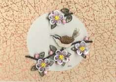 Carolina Wren and Apple Blossoms - Quilled Creations Quilling Gallery