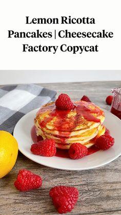 Copycat Recipes, Yummy Recipes, Keto Recipes, Cooking Recipes, Sweet Breakfast, Breakfast Ideas, Breakfast Recipes, Cheesecake Factory Copycat, Lemon Ricotta Pancakes