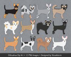 Chihuahua Clip Art, digital chihuahua clipart, lap dogs, short hair, long hair…